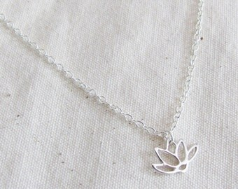 Sterling Silver Lotus Necklace, Thin Necklace, Bridesmaid Necklace, Dainty Necklace,  Bridesmaid Gift, Small Necklace, Bridesmaid Jewelry