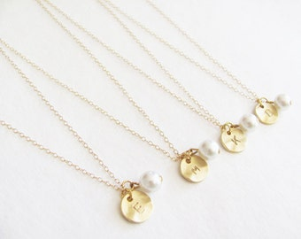 Set of Four Initial Charm & Pearl Necklaces  - Bridesmaid Necklaces - Personalized Necklaces - Initial Necklaces - Wedding Jewelry