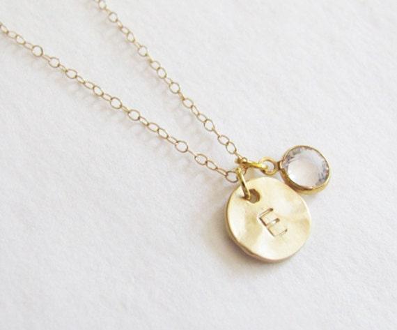 Swarovski Stone Necklace - Initial Necklace - Personalized Necklace ...