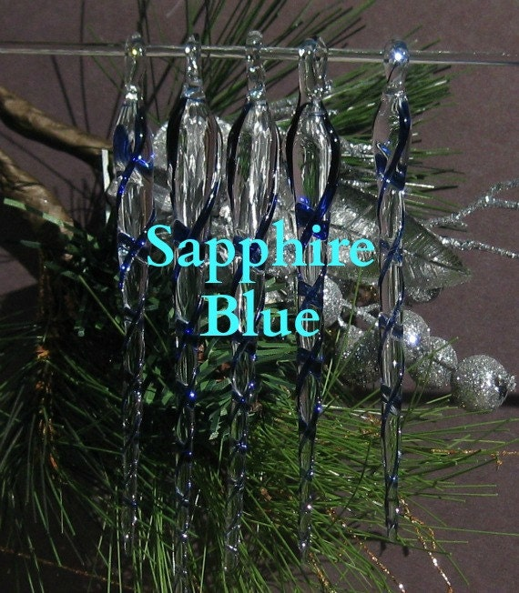 "Christmas Heirloom, Hand Blown Glass Icicles ornaments, ""Blue Sapphire"", set of 5"