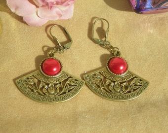 ART NOUVEAU style brass filigree fan w, Red fx PEARL cab earrings.