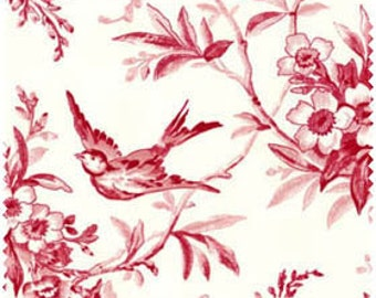 Garden of Enchantment, Cream background with red botanical print