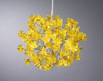 Yellow flowers Hanging lamp for hall, bathroom, bedside lamp or children room.
