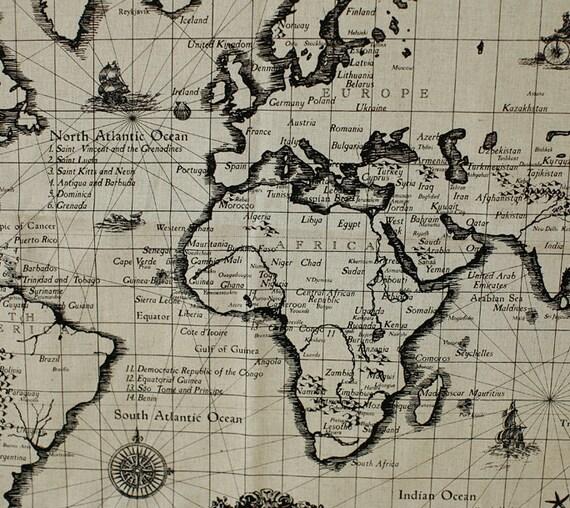 map of the world antique linen illust cut by harvard5f on etsy. Black Bedroom Furniture Sets. Home Design Ideas