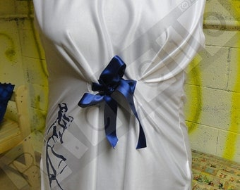 Printed top with pretty sailor and adjustable blue ribbon