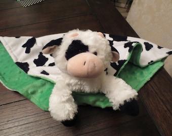 Security Blanket, Lovee, Baby Blanket.  Munchie the Cow Minky.