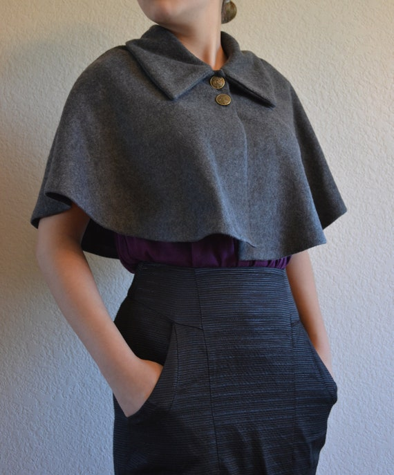 Charcoal Grey Fleece Buttoned Capelet