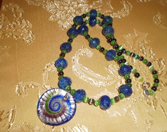 Glass Foil Necklace Set with blueberry faceted rhondelles and fiber optics rounds