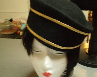 Vintage 100% Wool Felted Black and Gold Pill Hat