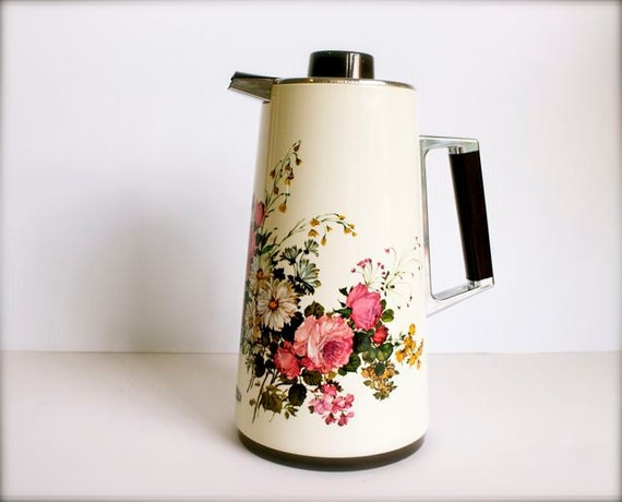 Unique Retro Insulated Coffee Pot -Pitcher-Carafe White with Flowers