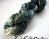 Calypso, Hand Painted Yarn in Shades of Teal, Green and White, KNitting Supplies, Crochet Supplies
