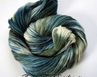 Calypso, Hand Painted Yarn in Shades of Teal, Green and White