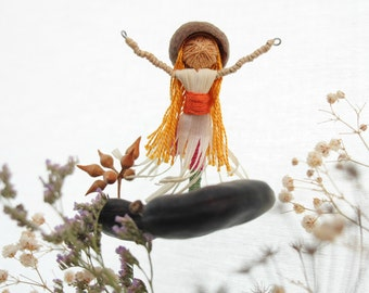 Woman dancing with delight, Mobile made from natural materials, Eco gift - made to order,