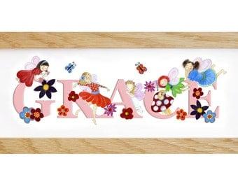 Fairy Door Plaque - Children's / kid's / name sign / Illustration