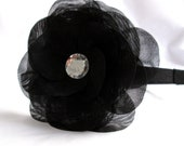 Black Flower Headband, Black Organza Layered Flower Headband with Stone, Ruffled Flower Headband