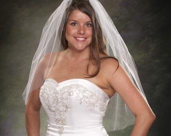 Bridal Veils Plain Cut Edge Waist Length Wedding Veil 1 Layer 32 One Tier White Wedding Veils Light Ivory Bridal Veil Diamond White