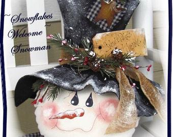 Primitive Snowman Pattern Snowflakes Welcome Snowman Christmas ePattern
