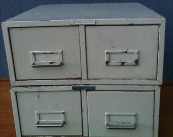 Vintage Industrial Steelmaster Index  Card Files,Drawers,Cream Chipped Paint