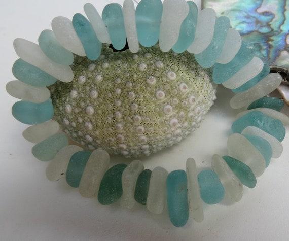 Beach Glass Beads 6 inch strand Aqua Sea Glass Beads and Wedding Whites