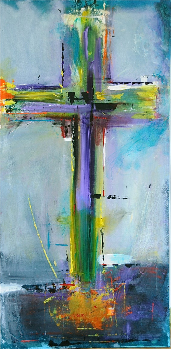 cross on blue original abstract acryllic painting on canvas