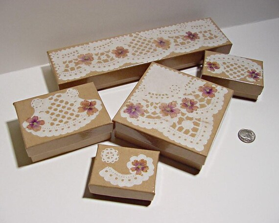 Decoupage Gift Boxes Doilies and Verbena Flowers Set of Five