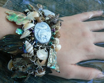 mermaid bracelet resort wear abalone bracelet seashells mermaid cameo cruise wear beach wear  resort wear  high fashion gypsy boho