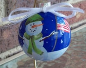 Hand Painted Army Snownan Glass Christmas Ornament....Military...Holiday...Decoration