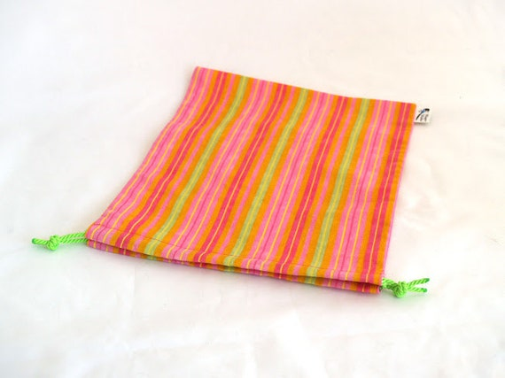 Bright Stripe Simple Drawstring Project Bag Knitting Crochet Spinning