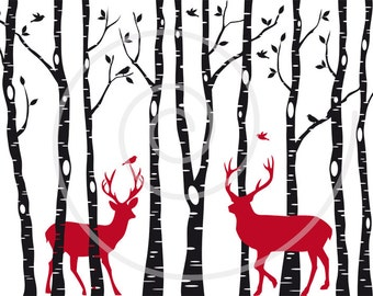 Christmas card, birch trees with reindeer, digital clipart, printable wall art, digital art print, home decoration, EPS, SVG files, download