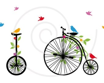 Vintage bicycle with birds, digital clip-art, clipart, clip art, leaves and flowers, bike, printable, print, vector, instant download