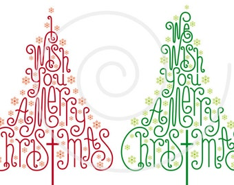 Christmas trees with hand-drawn letters, Christmas card, Xmas card, digital clipart, clip art, word art, print, printable, vector, download