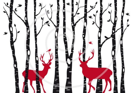 Birch trees with Christmas deer, reindeer, stag silhouette, digital ...