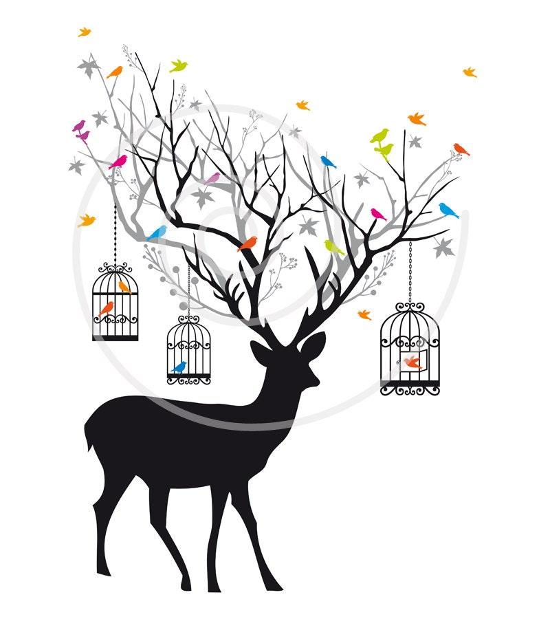 Deer With Birds And Birdcages Reindeer on Vintage Blue Bird Clip Art