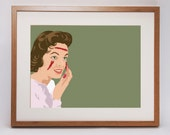 Twisted Fifties 'Blooding' vintage inspired art print 50s olive green