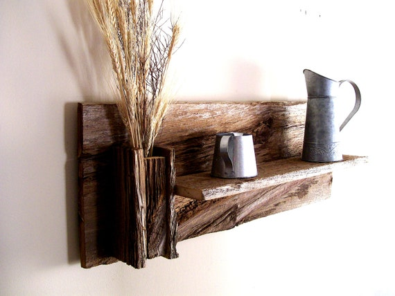 Rustic Reclaimed Barn Wood Wall Shelf