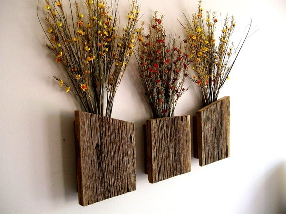Wall Sconces Flower Vases : Set of 3 Rustic / Reclaimed / Barn Wood Wall by TheBarnYardShop