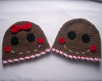 Gingerbread Man Hat -  Gingerbread Boy Hat - Gingerbread Girl Hat - Holiday Hat