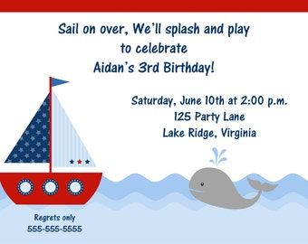 Printable Sailboat Birthday Invitation