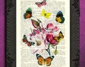 Flowers and butterflies print pink magnolia rainbow butterflies print mixed media art