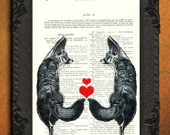 Fox print, fox couple with red hearts dictionary print, foxes in love on book page, fox art, woodland prints, fox decor