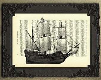 sailing ship print three-masted barque print sailboat art black and white