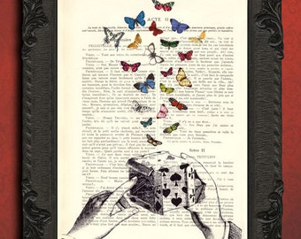 Magic box with butterflies print, magician art print, dictionary page, magic print home decor