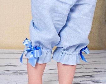 Girls summer capri T12 light blue linen ruffles beach birthday baby toddler comfy