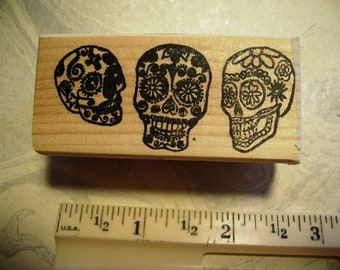 Dia de Los Muertos  Day of the dead  3 skulls  No.11  rubber stamp mounted scrapbooking rubber stamping