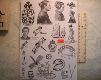 14+ Asian  Oriental themed Rubber stamps un-mounted scrapbooking rubber stamping journal