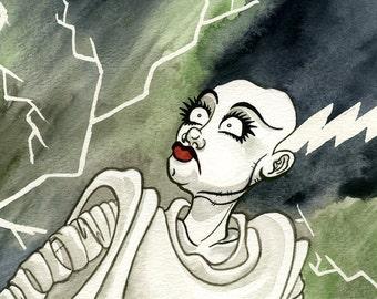 Bride of Frankenstein, Watercolor