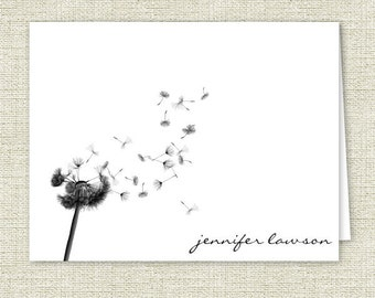 Personalized Note Cards, Dandelion Silhouette Stationery, Personalized Gift, Set of 10 Folded Note Cards, Dandelion Note Cards