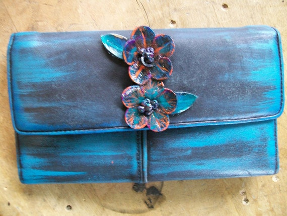 Blooming.... Hand-Painted Leather Flower Wallet