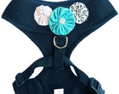 "Dog Harness / Collar - Mesh Adjustable - Black - Size L ""Flower Power"""