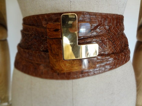 1970's Snakeskin Belt with Resin and metal Buckle